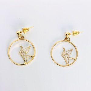 New! Origami Hoop Dangle Earrings Gold